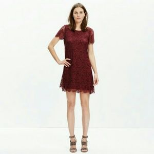 MADEWELL Floral Lace Shift Dress Maroon Wine